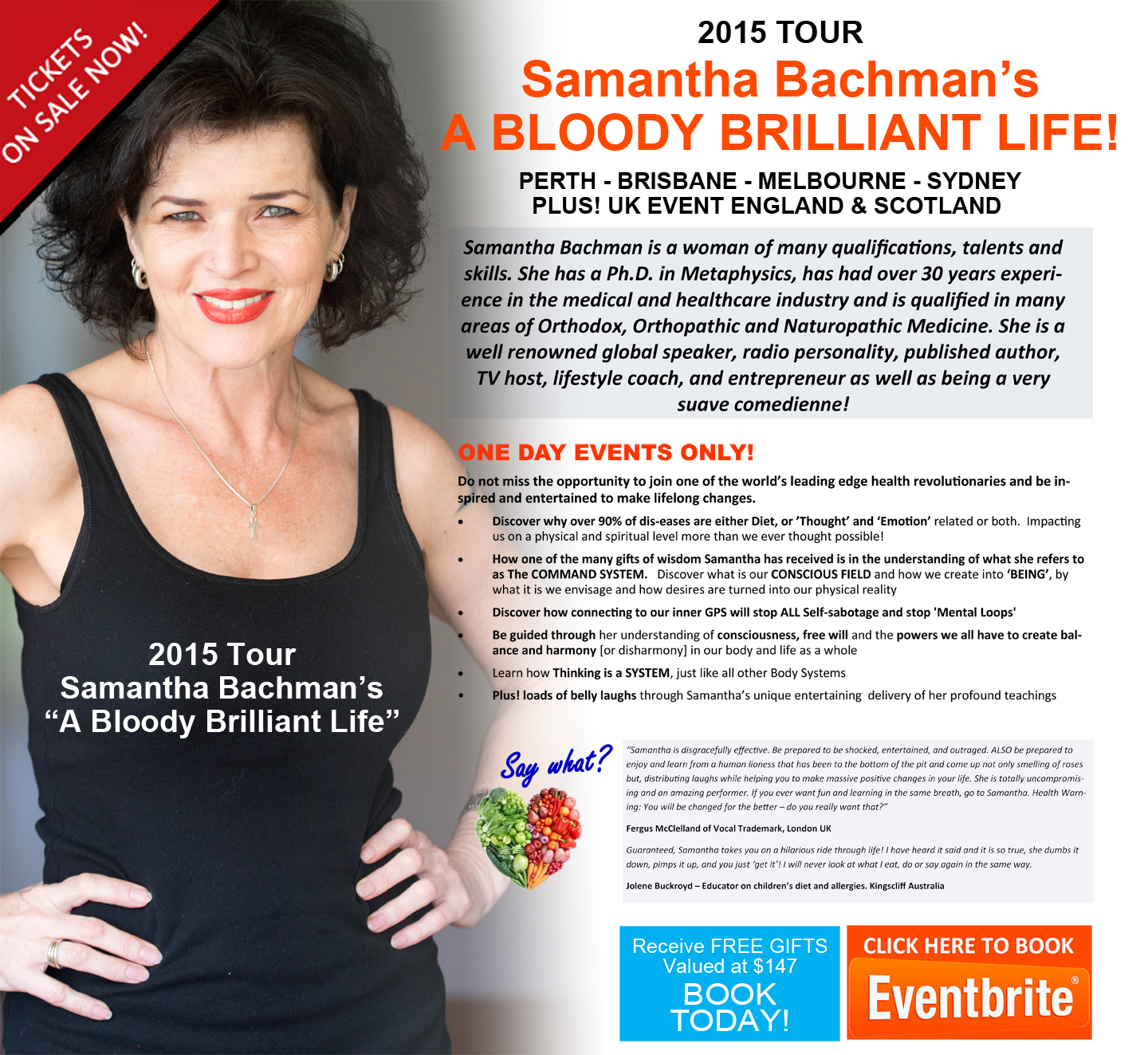 Samantha Bachman is a woman of many qualifications, talents and skills. She has a Ph.D. in Metaphysics, has had over 30 years experience in the medical and healthcare industry and is qualified in many areas of Orthodox, Orthopathic, Naturopathic & Bio-Energetic Medicine. She is a well renowned global speaker, radio personality, published author, TV host, lifestyle coach, and entrepreneur as well a being a very suave comedienne.